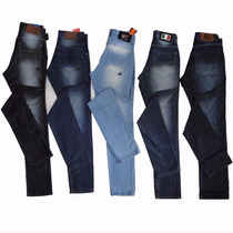 Kit 05 Calças Jeans Masculina Skinny Grandes Marcas, Atacado