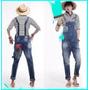 Macacão Jardineira Jeans Modinha Masculina Fashion Jeans New