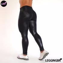 Calça Legging Plus Size Cirre Brilho Molhado