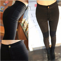 Calça Jeans Sarja Skinny Feminina Cintura Alta Preta