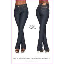Calça Azul Escu Semi Flare Pantalona Use Botas Boca Sino 859