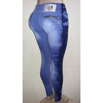 Calça Jeans Com Laycra Azul Manchada Jeans Com Laycra