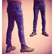 Calça Jeans Resinada Skinny Premiun Denim Azul Gangster