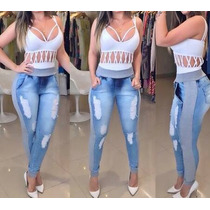 Calça Jeans Destroyed Hot Pant Rasgada Panicat Moleton