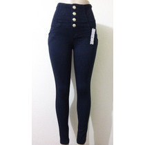 Calça Jeans Corpete Cintura Alta Azul Escuro Linda E Barato