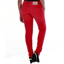 Sawary Calça Jeans Feminina Vermelha Modela Bumbum