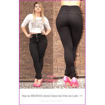 Calça Jeans Preta Gata Skinny Cintura Alta Lycra Strech 851