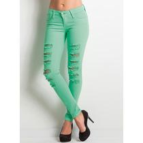 Calça Skinny Destroyed Rasgada Cor Verde Agua Linda!!