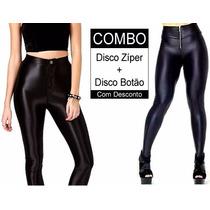 Calça Legging Brilho Disco Hot-pants Cós Alto Kit 2 Peças