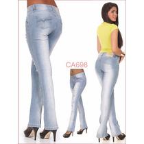 Calça Azul Feminina Sawary Flare Lycra Tem Modela Bumbum 844