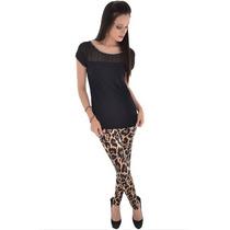 Calça Legging Malha Onça Leopardo Animal Print Estampada