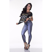 Calça Legging Estampa Fake Jeans Lipsoulgirls
