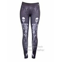 Calça Legging Leg Caveira Esqueleto Sereia Poliamida Rock
