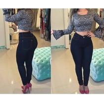Calça Jeans Feminina Cós Alto Pronta Entrega