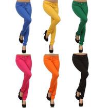 Calça Jeans Feminina Colorida Com Lycra - Menor Preço