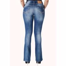 Calça Jeans Feminina Sawary Flare Modela Bumbum Com Bojos