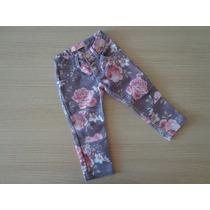 Calça Jeans Infantil Pituchinhus Estampa De Flores