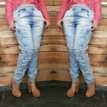 Calça Swag Estilosa Jeans Feminina Com Laterais Em Moletom