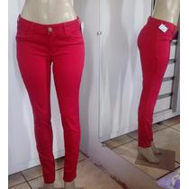 Calça Jeans Feminina Vermelha Skinny