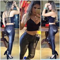 Legging Imita Jeans Preta Fitness Lipsoul Original 2076