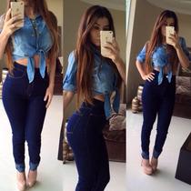 Promoção! Calça Jeans Hot Pants Cint. Alta Levanta Bumbum
