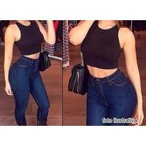 Calça Jeans Cintura Alta Hot Pants Cós Alto Juju Panicat Top