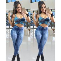 Calça Jeans Cós Alto Com Elastano Estilo Hot Pants Femininas