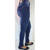 Calça Jeans Feminina C Detalhes E Cos Alto C Levanta Bumbum
