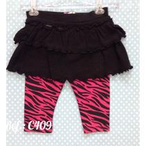 Calça Legging Estampa Em Zebra - Saia Preta Bebê Menina