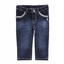 Calça Jeans Bebê Menina Com Detalhes De Renda Tam 12 Meses
