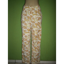 Calça Pantalona Cintura Intermediaria Estampa Floral M