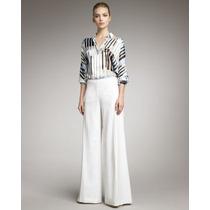 Calça Pantalona Eg Modelo Importado Elegante Em Linho Branco