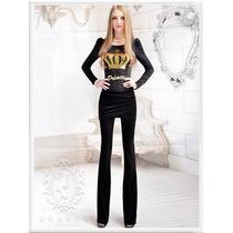 Calça - G- Importada Legging C/ Saia Barbie Preto Em Veludo