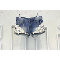 Shorts Jeans Rasgado Bordado Lindissímo