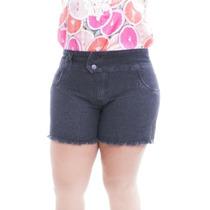 Short Jeans Plus Size Barra Desfiada Moda Maior Tamanho 54