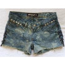 Short Jeans 38 Damyller Marmorizado Com Ilhós E Tachinhas