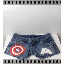 Short Jeans Customizado Captain America