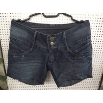 Short Jeans De Lycra Customizado Azul Marinho Barra Desfiada