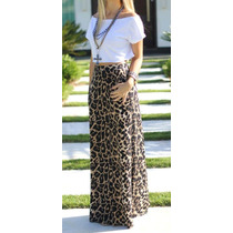 Conjunto De Saia Longa Em Estampa Animal E Top (cropped)
