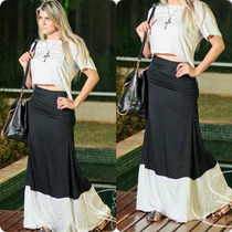 Conjunto De Saia Longa E Blusa (cropped) Top Preto E Branco