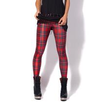 Legging Importada - Estampa Black Milk - Tartan Red - Xadrez