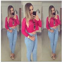 Calça Jeans Feminina Cós Alto Levanta Bumbum Pronta Entrega