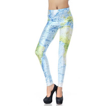 Legging Importada - Estampa Black Milk - World Map