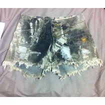 Shorts Jeans Diy Tie Dye Cavaler Cintura Alta