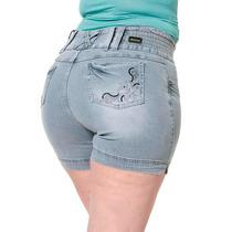 Shorts Jeans Feminino Bermuda Moda Plus Gordinha Cn195 Br