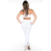 Calça Legging Cotton Jeans Branca Botões S/passante De Cinto