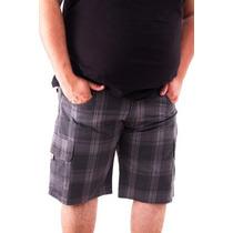 Bermuda Em Sarja Xadrez Plus Size 48 50 52 54 56 58