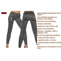 Calça Legging Estampa Jeans Preto Com Detalhes. Sale Free.