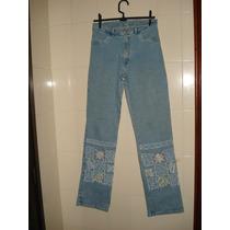 Calça Jeans C/ Bordados Nas Pernas C/ Elastano Tam 42