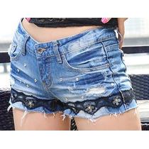 Shorts Jeans Com Detalhes De Apliques E Pedras